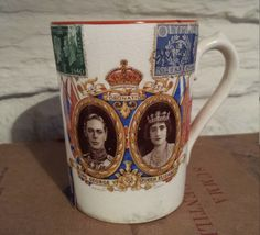 Coronation Cup/ George the 6th and his queen Elisabeth with original stamps/1930s by MerryLegsandTiptoes on Etsy