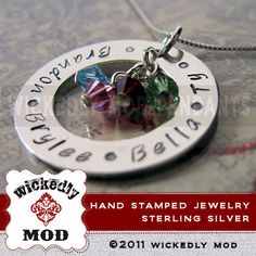 Mother Jewelry  Hand Stamped  Personalized by wickedlymodpendants, $61.00