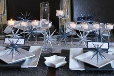 Pretty Hanukkah table decor.