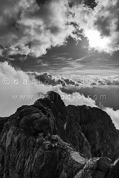 130896bw  High altitude clouds in the Dolomites