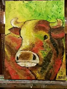 Acryl schilderij;  Koe eigen werk; verkocht