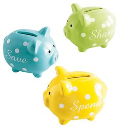 """Tiny Tillia 3 Little Piggy Banks It's never too early to learn about money. Banks marked """"Share,"""" """"Save"""" and """"Spend"""" come in gift box. Each, 2 W x 3 D x H. Ages 4 and up. Three Little Piggies, Penny Bank, Paper Mache Animals, Comic Poster, Baby Registry, New Baby Products, Avon Products, Little Ones, Bath And Body"""