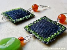 DIY- Earrings made with recycled denim
