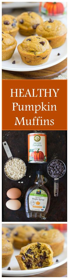 Healthy Pumpkin Muffins- made with whole grain oats and no refined sugar! #dairyfree #glutenfree