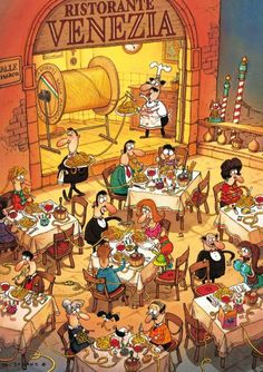 Pasta Italiana by artist Marino Degano. Finished size X Degano is an illustrator, author, cartoonist and draughtsman known for his art with grand and charming scenes and intelligent irony. Cartoon Drawings, Cartoon Art, Cartoon Puzzle, Hidden Pictures, Architectural Section, Puzzle 1000, Illustrations And Posters, Cool Artwork, 1000 Piece Jigsaw Puzzles