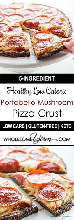 Healthy Low Calorie Pizza Crust with Portobello Mushrooms (Low Carb, Gluten-Free) - This delicious healthy, low calorie pizza crust is made with portobello mushrooms and parmesan cheese, making it low carb and gluten-free.