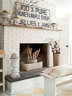 brick fireplace Painted Brick Fireplaces, Paint Fireplace, Brick Fireplace Makeover, White Fireplace, Fireplace Hearth, Fireplace Surrounds, Fireplace Design, Fireplace Ideas, Decorative Fireplace