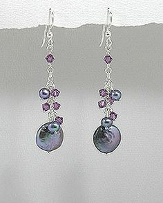 Handmade Silver Earrings, Beaded with Freshwater Pearl and Swarovski Crystal Swarovski Crystal Earrings, Silver Earrings, Silver Jewelry, Pearl Earrings, Drop Earrings, Jewelry Gifts, Handmade Jewelry, Handmade Silver, Matching Necklaces
