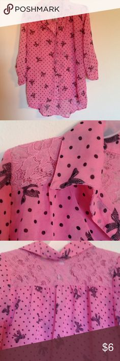 Knitworks sheer blouse Knitworks sheer pink blouse with black bows and dots ... lace shoulders Knitworks Shirts & Tops Button Down Shirts
