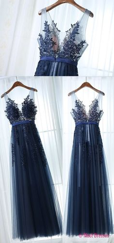 New Arrival A-Line V-Neck Sleeveless Navy Blue Tulle Long Prom Dress PD20188431