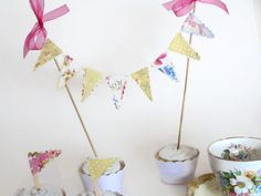 Country Wedding Cake Bunting Yellow Pink Cottage Chic by noolys, £5.00