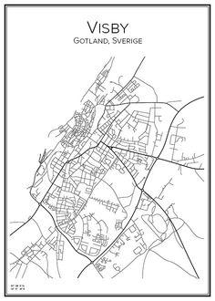 Visby. Gotland. Sverige. Karta. City print. Print. Affisch. Tavla. Tryck.