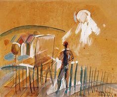 Egry József Festő a badacsonyi tájban című festménye Painting, Painting Art, Paintings, Painted Canvas, Drawings