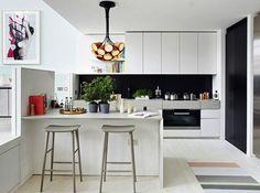 cozinha moderna branco com toque preto