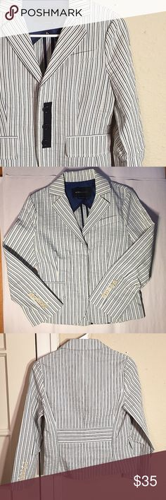 BCBGMaxAzria NWOT adorable pinstripe blazer This chic, classic 3/4 sleeve blazer is New Without Tags! SUPER CUTE paired with jeans or over a dress! Size XS. BCBGMaxAzria Jackets & Coats Blazers