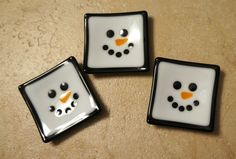 """3"""" Fused Glass Snowman Christmas Dish--great for your teabags, rings, soap, candles, and more! on Etsy, $6.00"""