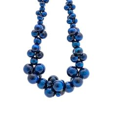 Your place to buy and sell all things handmade Wooden Bead Necklaces, Wooden Beads, Cluster Necklace, Beaded Necklace, Turquoise Necklace, Bubbles, Buy And Sell, Blue, Handmade