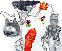Pat Andrea, détail de la 49e toile réalisée sur Alice au Pays des Merveilles et De l'autre côté du Miroir reproduite sur le coffret rassemblant les deux volumes de cette édition.