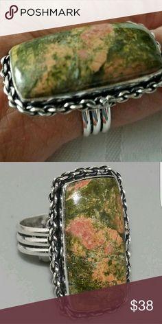 "UNAKITE RING ""VERY BEAUTIFUL"" Beautiful Unakite Gemstone ""Stamp 925"" Sterling Silver Ring Jewelry Rings"