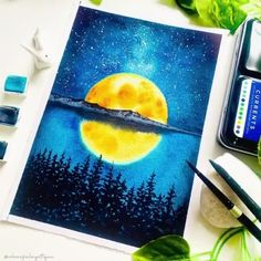 Watercolor Paintings For Beginners, Watercolor Art Lessons, Canvas Painting Tutorials, Watercolor Techniques, Watercolor Landscape, Watercolor Scenery Painting, Easy Nature Paintings, Shadow Painting, Watercolor Moon