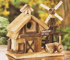 Barnyard Wood Birdhouse Clever all-wood birdhouse is a country craft collector's delight! This barnyard decoration makes a fine and fitting home for a fortunate family of birds. Made from wood and natural materials. This house is x x Wooden Bird Houses, Decorative Bird Houses, Bird Houses Diy, Wood Houses, Bird House Plans, Bird House Kits, Bird House Feeder, Bird Feeders, Birdhouse Designs