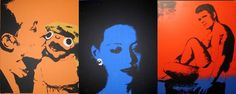 3 silkscreens on hand painted canvases by walt yablonsky