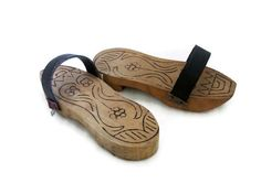 Wooden NALIN CLOGS, Turkish bath house slippers, Vintage womens wood HAMAM shoes, Oriental home decor, Middle Eastern decoration prop. $37,00, via Etsy.