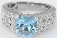 Some believe aquamarine to help the wearer conquer wickedness, and the have magical power to convey insight and foresight. 2.45 ctw Aquamarine and Diamond Ring.