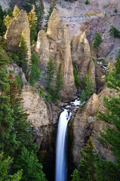 The pinnacles above Tower Fall in Yellowstone