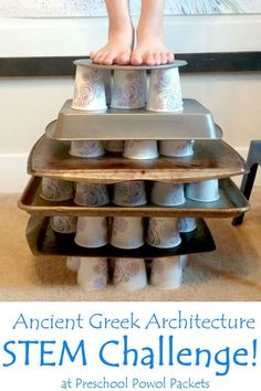 """Ancient Greek Architecture STEM Challenge & Activities.    Can you build a tower using Greek Architecture?    """"The STEM Challenge:  I gave the kids a set of paper cups (each team had about 18) and two cookie sheets. I challenged them to build their own building using the post and lintel system. Make it as strong as possible! I invited them to test its strength by stacking books on top of it or (if they were really brave) to try standing on it! Of course, they immediately changed the…"""