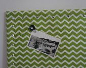 Cork board wrapped with grass green chevron print to upgrade a functional stand by into a beautiful message board accented with silver finishing push pins. approx ( size may vary an inch or Green Chevron, Message Board, Esty, Cork, Grass, Coding, Handmade Gifts, Shop, Silver