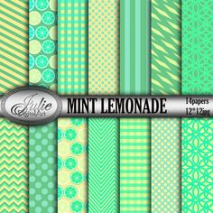 Mint lemonade digital paper Yellow Lemon Summer от JulieDigitalArt
