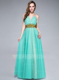 A-Line/Princess Halter Floor-Length Ruffle Beading Sequins Zipper Up Spaghetti Straps Sleeveless No Other Colors Spring Summer Fall General Plus Chiffon Prom Dress