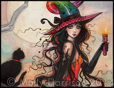 October Flame - Halloween Witch and Black Cat Giclee Print of Original Painting by Molly Harrison Fantasy Art Fantasy Kunst, Fantasy Art, Black Cat Painting, Beautiful Witch, Witch Cat, Folk, Halloween Cat, Halloween Witches, Dark Art
