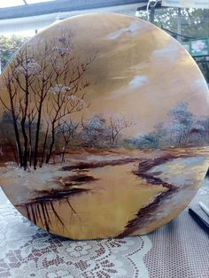 China Painting, Tole Painting, Ceramic Painting, Painting On Wood, Scenery Paintings, Landscape Paintings, Winter Painting, Tree Art, Vinyl Art