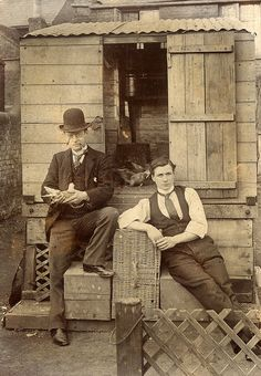 Outside the pigeon loft, brothers Edward and Harry Wood