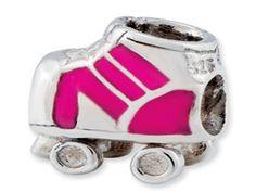 Kids Personalized Sterling Silver Roller Skate Charm Bead (Online at Gemologica.com)