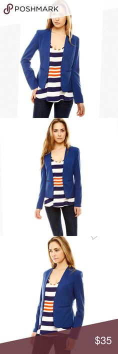 """Ya Los Angeles Blue Blazer Ya Los Angeles blue blazer features mock neckline that leads to hidden hook & eye closure, welt pockets at front and is finished with allover dart stitched seams for a fitted look. The color is best pictured in photos with model. It is royal blue. Front left shoulder approx 24"""". Material: 70% cotton 30% polyester. Great condition! Ya Los Angeles Jackets & Coats Blazers"""