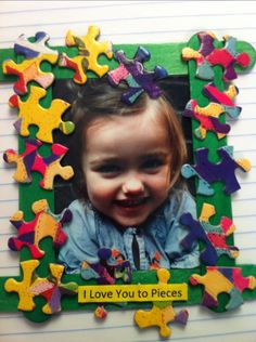 """cute picture frame project - this would be cute if the person had a piece of puzzle in their hand and the caption wrote """"your my missing piece"""" ..or something."""