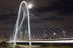 Santiago Calatrava unveiled his first vehicular bridge in the United States. Located in Dallas, the Margaret Hunt Hill Bridge is a major component of the city's urban revitalization efforts, which will improve the landscape and community surrounding the Trinity River.