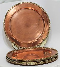 Set-of-6-Vintage-SOLID-COPPER-CHARGER-Plates-Applied-Brass-Edge-11-Hand-Made
