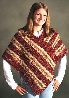 Striped Cozy Poncho By Caron Design Team - Free Crochet Pattern - (ravelry)