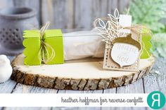 DIY Autumn treat box by Heather Hoffman. Reverse Confetti stamp set: Happy Harvest. Confetti Cuts: Happy Harvest, Treat Tube Topper, Lacy Scallop Frames and Wheat. RC Cardstock: Cloud White and Lime Green. Thanksgiving table favor. Thank you gift.