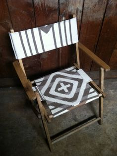 Vintage Indian Summer Chair, Oak Folding Deck Chair, Pendleton Fabric