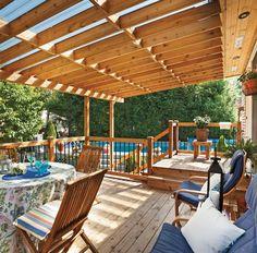 Patio Terrasse Couvert 64 Ideas For 2019 Patio Steps, Diy Patio, Backyard Patio, Outdoor Patio Umbrellas, Outdoor Rooms, Outdoor Living, Decks Around Pools, Mobile Home Porch, Patio Deck Designs