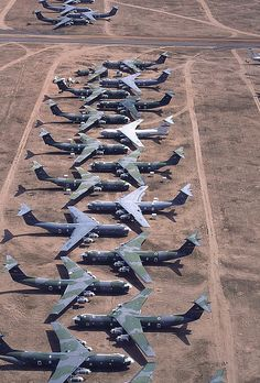 C-141 Starlifters at the Boneyard. I took one here and left her.... so sad. Never thought I'd be around to help retire an airplane.