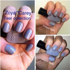 Carey from Zoya's Feel collection. A slate blue-gray. It looks very different in each type of light!