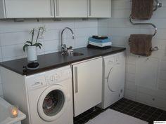 Bänkskiva med blandare och med tvättmaskin under Washing Machine, Home Appliances, Laundry