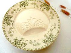 Antique French plates set of 2   SARREGUEMINES U by CabArtVintage