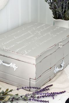 Upcycle an old flatware box into a romantic jewelry box with Annie Sloan Chalk Paint and Royal Design Studio Stencils. via Confessions of a Serial Do-it-Yourselfer